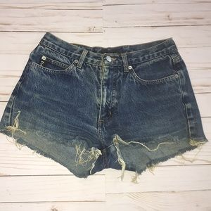 Guess Distressed Hem Jean Shorts